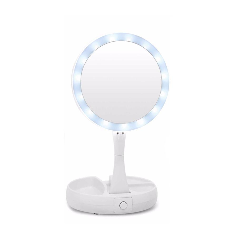 Flexible Fold Away Makeup Mirror With Dual Sided Led Light