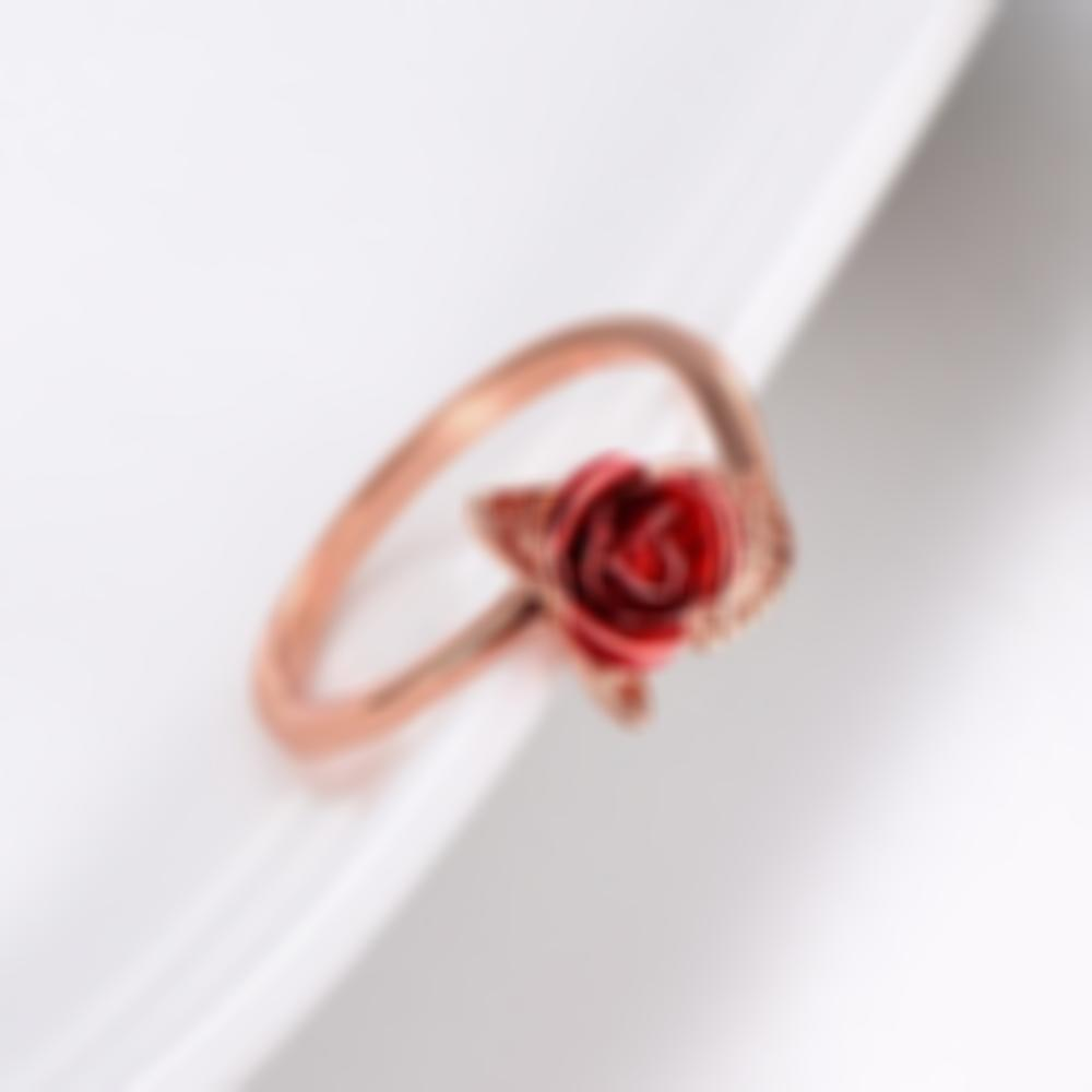 Kisslay Adjustable Red Rose Flower Ring Fashion Jewelry Ring