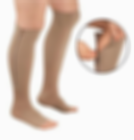 Kisslay Open Toe Zipper Compression Support Socks Toeless Stockings